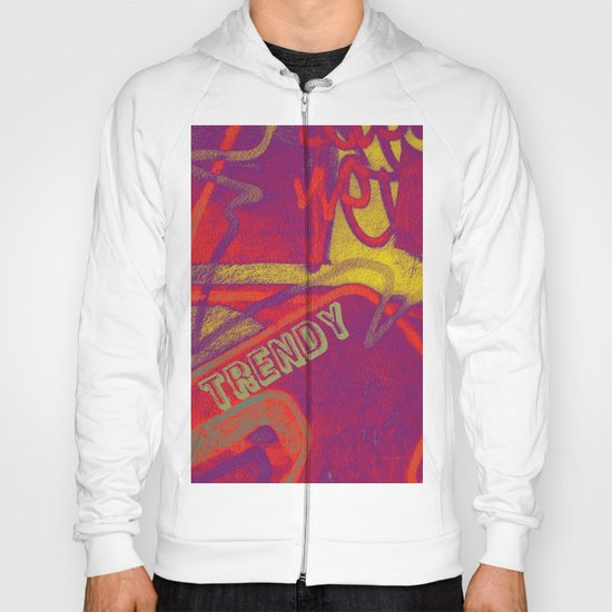 Cool TRENDY script graffiti style print in bold mauve purple, orange tangerine, yellow, teal and red Hoody