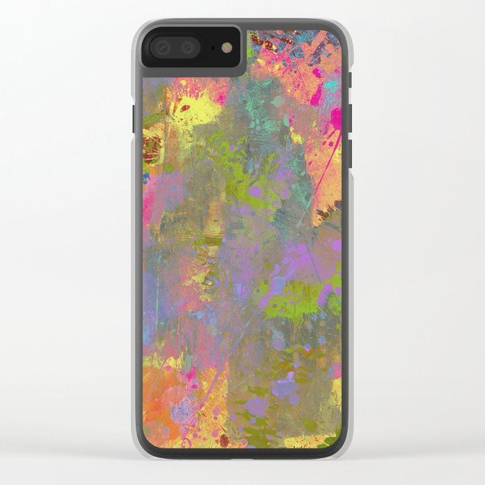 Messy Art II - Abstract, pastel coloured artwork in a random, chaotic, messy style Clear iPhone Case