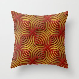 Red Leather and Gold Circulate Wave Pattern Throw Pillow
