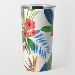Heaven Bird Flower, Lily and Frangipani Tropical Flowers Pattern Travel Mug