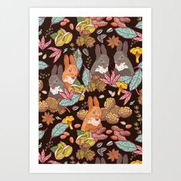 nuts and squirrels Art Print