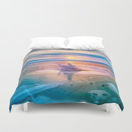 The Strange Ice Circle of Baikal Duvet Cover