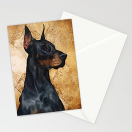 Black and Gold ( Doberman dog ) Stationery Cards
