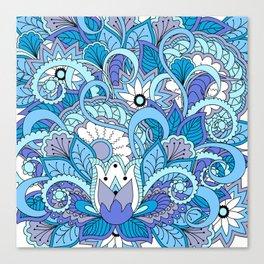 blue floral zen pattern Canvas Print