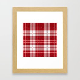 Red and White Christmas Tartan Framed Art Print