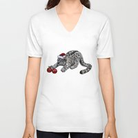 snow leopard V-neck T-shirts featuring Snow Leopard by Anna Shell