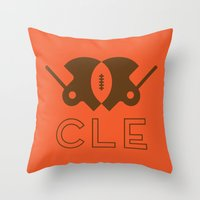 cleveland Throw Pillows featuring Cleveland Football by John Trivelli