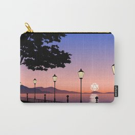 Night Lights Sunset by the Bay D20 Dice Sun Tabletop RPG Landscape Carry-All Pouch