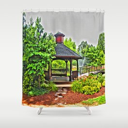 City Park - Photo converted to painting Shower Curtain