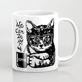 Funny cat motivated by coffee Coffee Mug