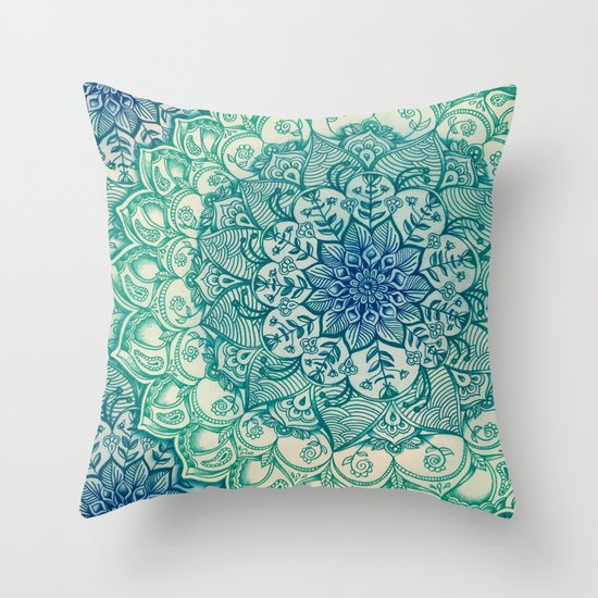 Throw Pillow Doodle : Emerald Doodle Throw Pillow by Micklyn Society6