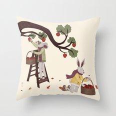 Autumn Apple Picking Throw Pillow