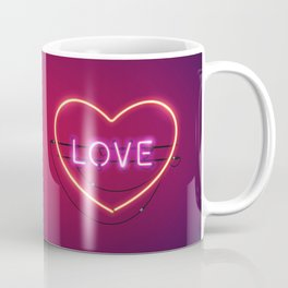 Pink Love in the Heart Neon Sign Coffee Mug