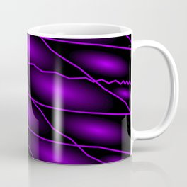 Slanting repetitive lines and rhombuses on dark violet with intersection of glare. Coffee Mug