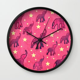 Elephants Stars Pattern Wall Clock