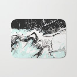 mint black and white marble Bath Mat
