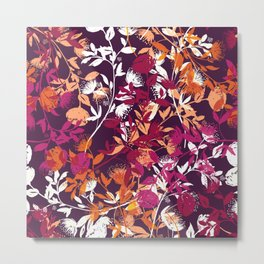 Abstract Floral Pattern Extreme Pop Colors Metal Print