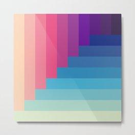 Sund & Ocean - Pink Blue 3D Look Striped Pattern Metal Print