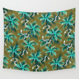 Snake Palms - Light Teal Mustard Wall Tapestry