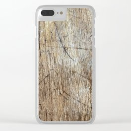 Scratched Wood Clear iPhone Case
