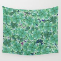 clover Wall Tapestries featuring Four Leaf Clover  by Take F1ve