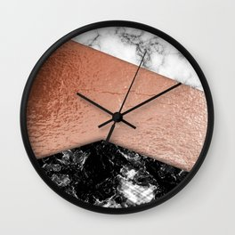 Rose Gold foil and marble Wall Clock