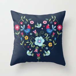 Scandi Folk Heart on Dark Throw Pillow