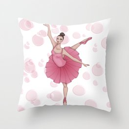 Bubble Ballerina Throw Pillow