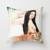 girl power Throw Pillows featuring Girl Power by Beth Michele