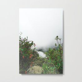 Greenery in Clouds | Nature Landscape Photography of Misty Cloudy Lake with Greenery Metal Print