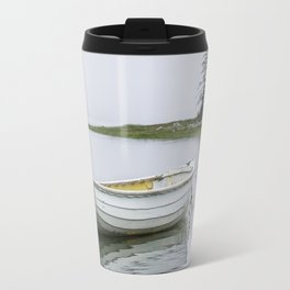 White Maine Boat on a Foggy Morning Travel Mug