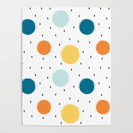 cute colorful pattern with grunge circle shapes Poster