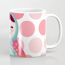 doll matryoshka, pink and blue, pink polka dot background Coffee Mug