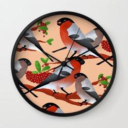 Bullfinch and berries Wall Clock