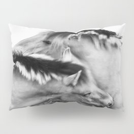 Nuzzling Horses in black & white Pillow Sham