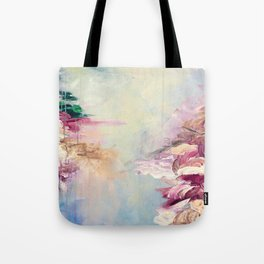 WINTER DREAMLAND 1 Colorful Pastel Aqua Marsala Burgundy Cream Nature Sea Abstract Acrylic Painting  Tote Bag