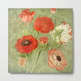Vintage Persian Buttercups and Ephemera - French Ephemera Collage Print - Vintage Botanical Metal Print