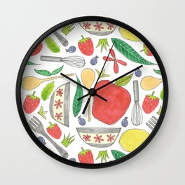 doodle style kitchen elements Wall Clock
