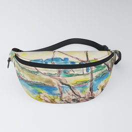 Watercolor spring landscape with trees, river and country Fanny Pack