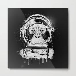 Chimpanzee with astronaut helmet Metal Print
