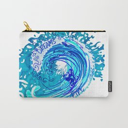 Vintage Watercolor Splash Big Wave Surfing Carry-All Pouch