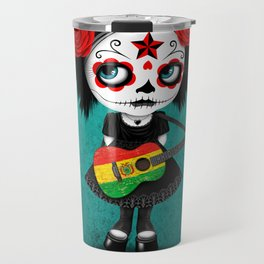 Day of the Dead Girl Playing Bolivian Flag Guitar Travel Mug