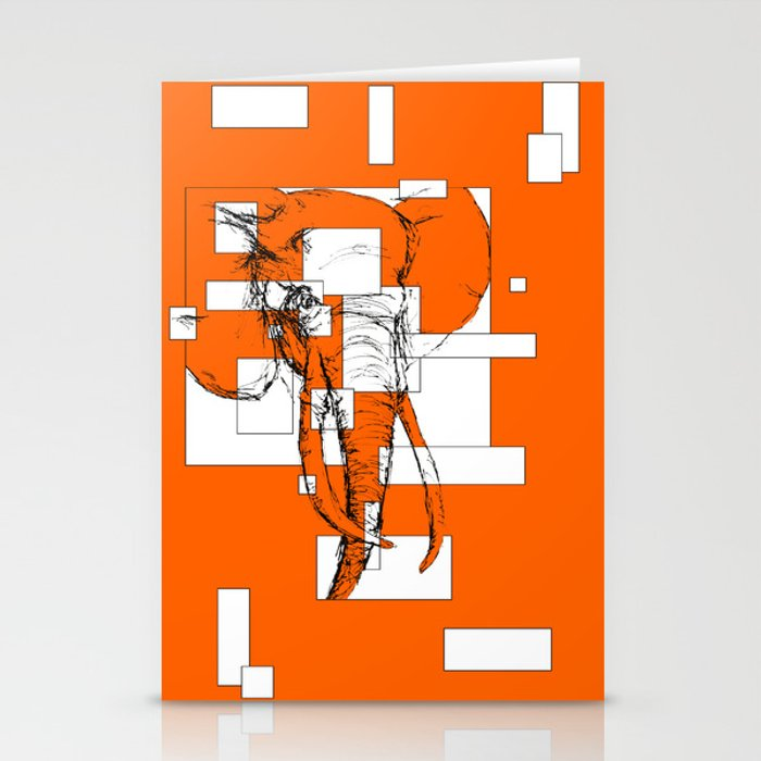 Orange is the New Elephant Stationery Cards