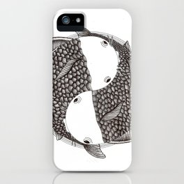 Pisces - Fish Koi - Japanese Tattoo Style (black and white) iPhone Case
