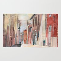 italy Area & Throw Rugs featuring Italy, watercolor by Jane-Beata