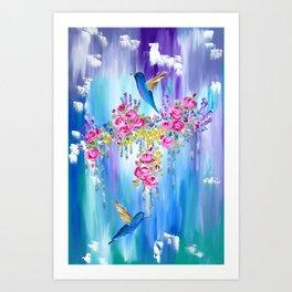 Roses and Hummingbirds in Love Art Print