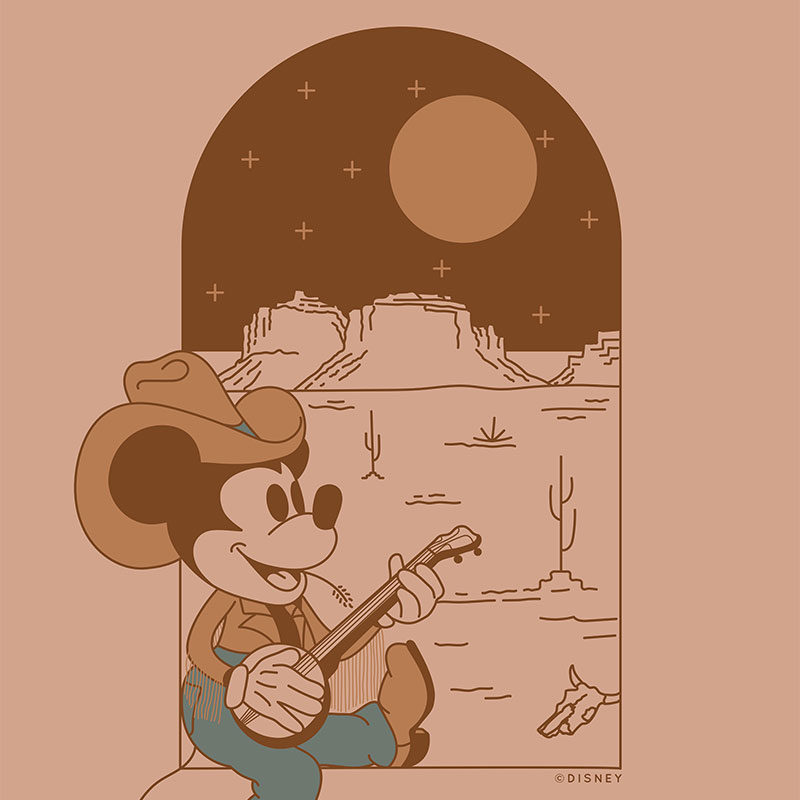 illustration of Mickey Mouse as a cowboy, playing the banjo in the desert