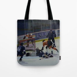 Dive for the Goal - Ice Hockey Tote Bag