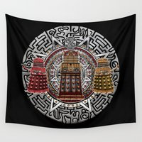 dalek Wall Tapestries featuring Aztec Dalek Tardis doctor who iPhone 4 4s 5 5c 6, pillow case, mugs and tshirt by Greenlight8
