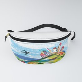 Swallow in the fairytale, painted pattern for kids, colourfull illustration Fanny Pack